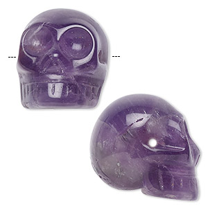 bead, banded amethyst (natural), 25x21mm skull, b grade, mohs hardness 7. sold per pkg of 2.