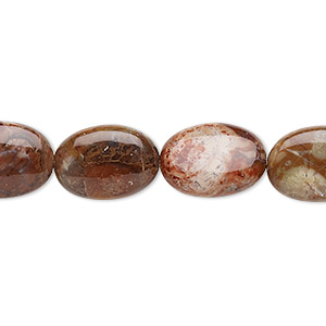 bead, birdseye rhyolite (natural), 14x10mm flat oval, b grade, mohs hardness 6-1/2 to 7. sold per 16-inch strand.