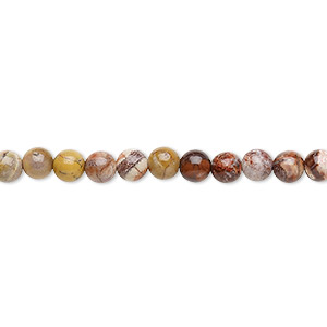 bead, birdseye rhyolite (natural), 4mm round, b grade, mohs hardness 6-1/2 to 7. sold per 16-inch strand.