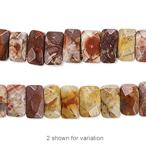 bead, birdseye rhyolite (natural), 9x5mm-10x6mm double-drilled faceted rectangle with 0.5-1.5mm holes, b grade, mohs hardness 6-1/2 to 7. sold per 8-inch strand, approximately 35 beads.