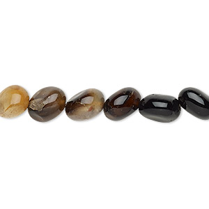 bead, black agate and brown agate (dyed), mini to small nugget, mohs hardness 6-1/2 to 7. sold per 15-inch strand.