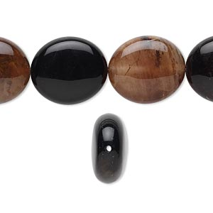 bead, black agate (dyed), 16x14x5.5mm flat oval, b grade, mohs hardness 6-1/2 to 7. sold per 16-inch strand.