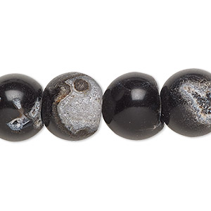 bead, black agate (dyed), opaque, 13-14mm non-uniform round, f grade, mohs hardness 6-1/2 to 7. sold per 15-inch strand.