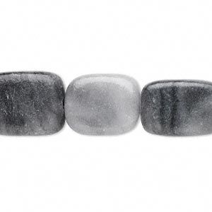 bead, black and grey marble (coated), 15x11mm-17x13mm flat rectangle, c grade, mohs hardness 3. sold per 16-inch strand. minimum 4 per order.