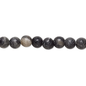 bead, black and grey marble (natural), 6-7mm round, d grade, mohs hardness 3. sold per 15-inch strand.