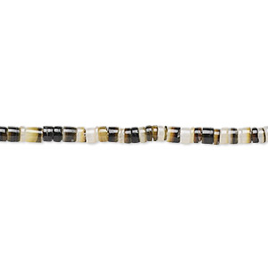 bead, black lip shell (natural), 2-3mm hand-cut heishi with 0.9-1mm hole, mohs hardness 3-1/2. sold per 24-inch strand.
