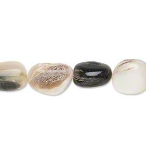 bead, black lip shell (natural), small to medium nugget, mohs hardness 3-1/2. sold per 16-inch strand.