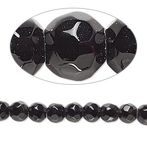 bead, black obsidian (natural), 6-7mm hand-faceted round, b- grade, mohs hardness 5 to 5-1/2. sold per 8-inch strand.