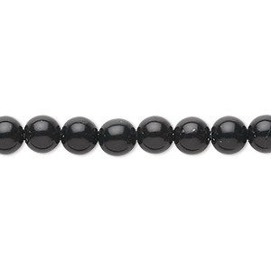 bead, black obsidian (natural), 6mm round, b grade, mohs hardness 5 to 5-1/2. sold per 16-inch strand.