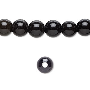 bead, black obsidian (natural), 8mm round with 2-2.5mm hole, b grade, mohs hardness 5 to 5-1/2. sold per pkg of 10.
