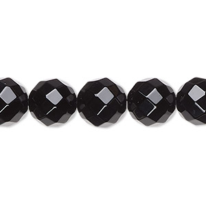 bead, black onyx (dyed), 10mm faceted round, a- grade, mohs hardness 6-1/2 to 7. sold per 16-inch strand.
