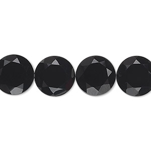 bead, black onyx (dyed), 12mm hand-cut faceted flat round, b grade, mohs hardness 6-1/2 to 7. sold per pkg of 10.