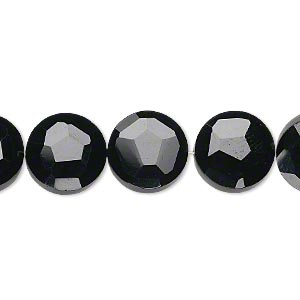 bead, black onyx (dyed), 12mm hand-cut faceted flat round, b+ grade, mohs hardness 6-1/2 to 7. sold per pkg of 5.