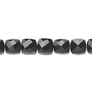 bead, black onyx (dyed), 8x8mm hand-cut faceted cube, b grade, mohs hardness 6-1/2 to 7. sold per pkg of 10.