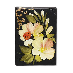 bead, black onyx (dyed), multicolored, 35x25mm single-sided puffed rectangle with hand-painted ladybug and flower design, mohs hardness 6-1/2 to 7. sold individually.