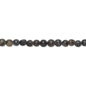 bead, black silk stone (natural), 3-4mm round, c grade, mohs hardness 4. sold per 15-inch strand.