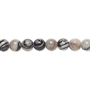 bead, black silk stone (natural), 6mm round, c grade, mohs hardness 4. sold per 16-inch strand.