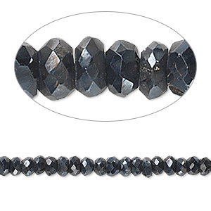 bead, black spinel (natural / coated), luster, 4x1mm-5x3mm hand-cut faceted rondelle, b- grade, mohs hardness 8. sold per 14-inch strand.