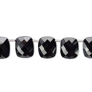 bead, black spinel (natural), 11x9mm hand-cut top-drilled faceted puffed rectangle with 0.4mm-1.4mm hole, b+ grade, mohs hardness 8. sold per pkg of 11 beads.