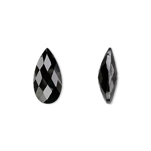 bead, black spinel (natural), 16x8mm hand-cut top-drilled faceted puffed teardrop, b grade, mohs hardness 8. sold per pkg of 2.