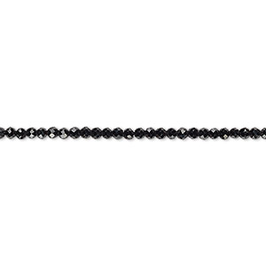 bead, black spinel (natural), 2mm hand-cut faceted rondelle, b grade, mohs hardness 8. sold per 13-inch strand.