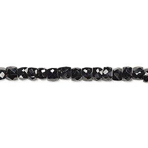 bead, black spinel (natural), 3-5mm hand-cut faceted cube, b grade, mohs hardness 8. sold per 7-inch strand.
