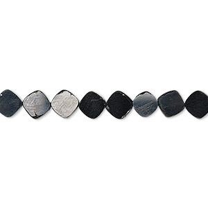 bead, black spinel (natural), 6mm hand-cut flat diamond, b grade, mohs hardness 8. sold per 8-inch strand, approximately 35-40 beads.