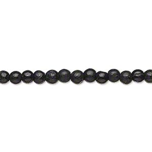 bead, black tourmaline (natural), 3-5mm hand-cut uneven round, d grade, mohs hardness 7 to 7-1/2. sold per 13-inch strand.