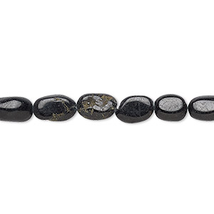 bead, black tourmaline (natural), 7x5mm-10x6mm hand-cut flat oval, c- grade, mohs hardness 7 to 7-1/2. sold per 13-inch strand.