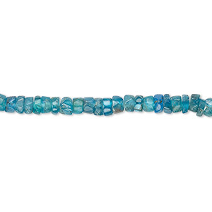 bead, blue apatite (natural), 3x1mm-5x3mm hand-cut heishi, c grade, mohs hardness 5. sold per 13-inch strand.