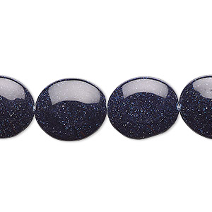 bead, blue goldstone (man-made), 16x14mm flat oval. sold per 16-inch strand.