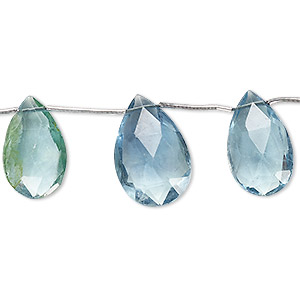 bead, blue-green fluorite (natural), 13x10mm-18x13mm graduated hand-cut top-drilled faceted puffed teardrop, b grade, mohs hardness 4. sold per pkg of 5 beads.