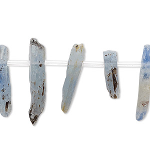 bead, blue kyanite (natural), 15x3mm-25x7mm hand-cut top-drilled stick, c- grade, mohs hardness 4 to 7-1/2. sold per 8-inch strand, approximately 20 beads.