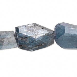 bead, blue kyanite (natural), extra-large hand-cut faceted nugget, mohs hardness 4 to 7-1/2. sold per 16-inch strand.
