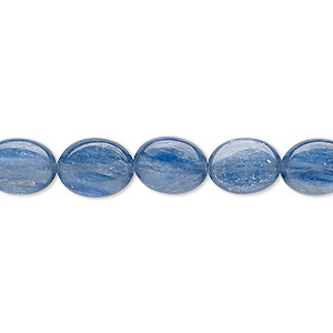 bead, blue kyanite (stabilized), 10x8mm flat oval with 0.5-1.5mm hole, b grade, mohs hardness 4 to 7-1/2. sold per 16-inch strand.