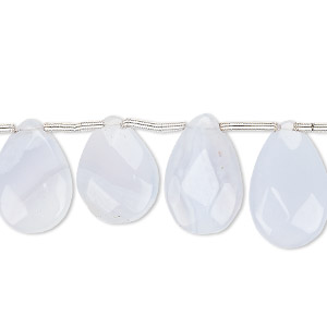 bead, blue lace agate (natural), 15x11mm-17x11mm hand-cut top-drilled faceted puffed teardrop, c grade, mohs hardness 6-1/2 to 7. sold per pkg of 10 beads.