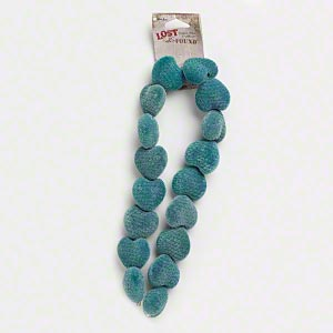 bead, blue moon beads, acrylic, teal, 25x24mm puffed heart. sold per pkg of 17 beads.