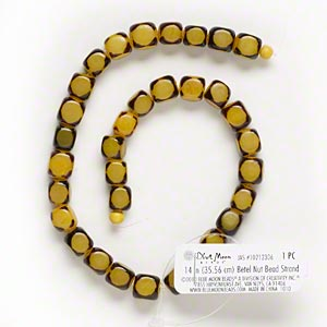 bead, blue moon beads, nut (dyed / coated), yellow, 9x9mm-11x11mm cube. sold per 14-inch strand.