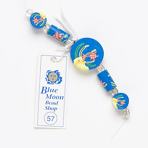 bead, blue moon beads, polymer clay, round tube and flat round with assorted sea design. pkg/5.