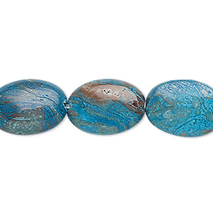 bead, blue sky jasper (dyed / stabilized), 18x13mm flat oval, c grade, mohs hardness 6-1/2 to 7. sold per 16-inch strand.