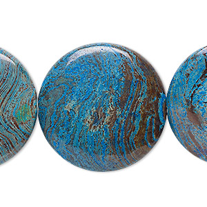 bead, blue sky jasper (dyed / stabilized), 30mm flat round, c grade, mohs hardness 6-1/2 to 7. sold per 16-inch strand.