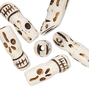 bead, bone (dyed), antique, 22x8mm hand-carved elongated skull. sold per pkg of 6.