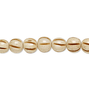 bead, bone (dyed), antiqued, 8mm fluted round, mohs hardness 2-1/2. sold per 16-inch strand.