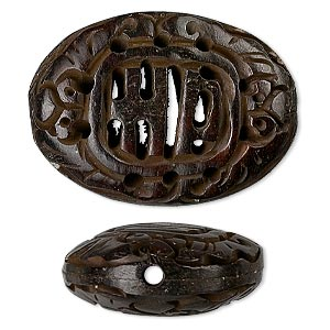 bead, bone (dyed), antiqued brown, 32x25mm carved flat oval with good luck symbol, mohs hardness 2-1/2. sold individually.