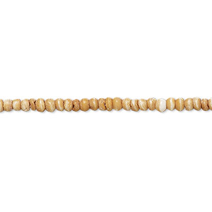 bead, bone (dyed), beige and white, 2mm round. sold per 16-inch strand.
