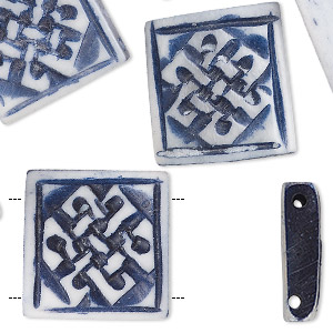 bead, bone (dyed), denim blue, 19x5mm hand-carved double-drilled single-sided square with knot design, mohs hardness 2-1/2. sold per pkg of 8.