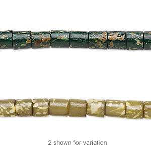 bead, bone (dyed), green and tan, 6x4mm hand-cut tube with speckles. sold per 16-inch strand.