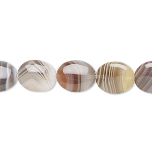 bead, botswana agate (natural), 12x10mm flat oval, b grade, mohs hardness 6-1/2 to 7. sold per 16-inch strand.