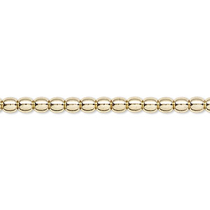 bead, brass, 3mm round. sold per 16-inch strand.