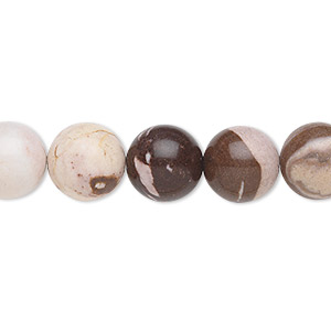 bead, bronze zebra jasper (natural), 10mm round, b grade, mohs hardness 6-1/2 to 7. sold per 16-inch strand.